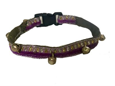 Purple lined Cat Collar with bells