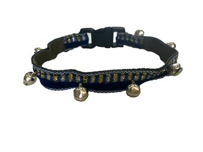 Navy blue lined Cat Collar with bells